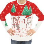 Snowman with Christmas Trees Sweater with Flashing Lights