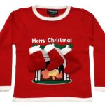 Children's Fireplace Sweater with 3-D Stockings in Red