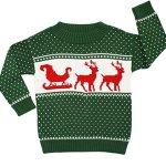 Children's Sleigh & Reindeer Christmas Sweater in Green