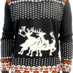 Humping Reindeer Hearts Black Sweater