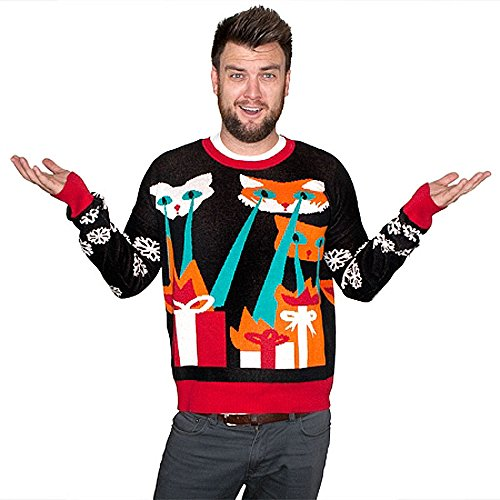 Laser Cat-Zillas Ugly Christmas Sweater | Ugly-Sweaters.com