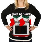 Lighted Fireplace Ugly Christmas Sweater with Tablet Pouch for Women