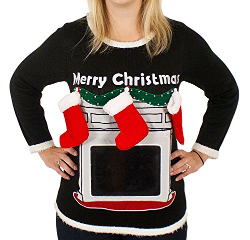 Lighted Fireplace Ugly Christmas Sweater with Tablet Pouch for ...