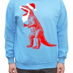 Big Bang Theory Santa T-Rex Ugly Sweater Pullover Sweatshirt