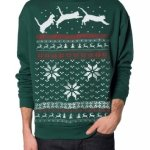 Christmas Sweater Cat Jumping in Snow Sweatshirt