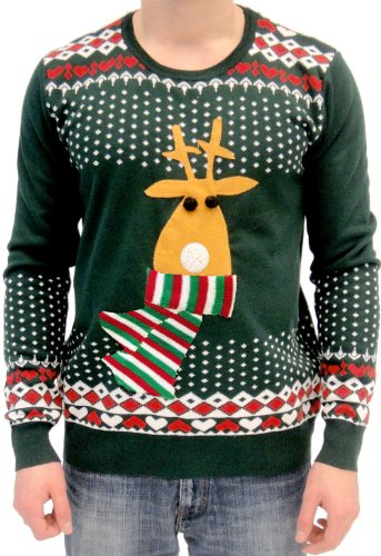 Rudolph with Flashing Red Nose Ugly Christmas Sweater