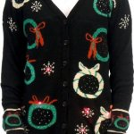 Christmas Wreath Cardigan Vest with Flashing Lights