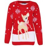 Reindeer and Snowflakes Christmas Sweater with Lights