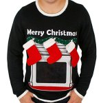 Lighted Fireplace Ugly Christmas Sweater with Tablet Pouch for Men