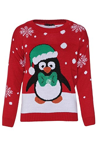 gt; Orange Crew Neck Ugly Christmas Penguin Patterned Jumper Sweater