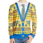 Ugly Hanukkah Cardigan Sweater Shirt for Men