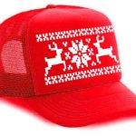 Red Reindeer Snowflake Mesh Trucker Hat