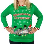 Tangled Cat Ugly Christmas Sweater with Lights for Women