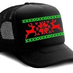Youth Kid's Reindeer Ugly Sweater Mesh Trucker Hat