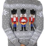 Men's Ugly Christmas Sweater - The Nut Cracker Funny Sweater Grey