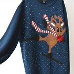 Lana Hua Women's Rudolph Reindeer Ski Ugly Christmas Sweater Knitted Jumper Plus Size