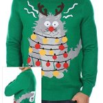 Men's Ugly Christmas Sweater - The Electrocuted Cat Sweater Green