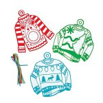 Color Your Own Fuzzy Ugly Christmas Sweater Ornaments! (Set of 12)