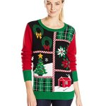 Patchwork Ugly Christmas Sweater with Lights for Women