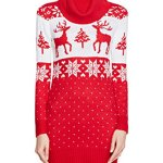 Womens Crew Neck Ugly Sweater Dress with Reindeer and SnowFlakes