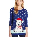 Polar Bear in Santa Hat Pullover Ugly Christmas Sweater
