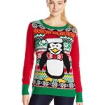 Penguin Ugly Christmas Sweater with Lights for Women