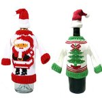Ugly Christmas Sweater Wine Bottle Cover w/ Santa Cup Bottle Topper Set of 2