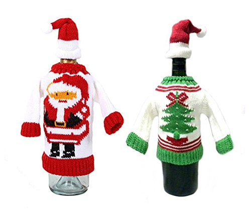 sweater wine bottle cover w santa cup bottle topper set of 2 dress up ...