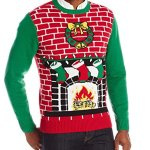 Men's Fireplace with Wreath Ugly Light Up Christmas Sweater