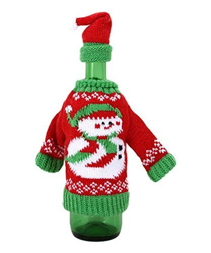 Ugly Christmas Sweater Wine Bottle Cover W Santa Cup