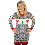 Retro Style Ugly Sweater Dress with Reindeer and Christmas Tree
