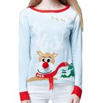 Cute Christmas Raindeer 3D Nose & Scarf Pullover Sweater Jumper