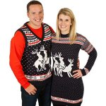 Naughty Reindeer 3 Way Humping Ugly Sweater Dress in Navy