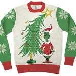 Grinch As Santa Next To Tree Sweater