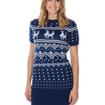 Humping Reindeer Conga Line Christmas Sweater Dress in Navy Blue