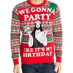 Jesus Gonna Party Like Its My Birthday Ugly Christmas Sweater for Men