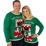 Let's Get It On Christmas Sweater with iPhone Lit Fireplace