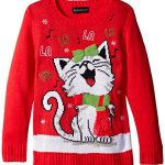 Happy Kitty Girls Christmas Sweater