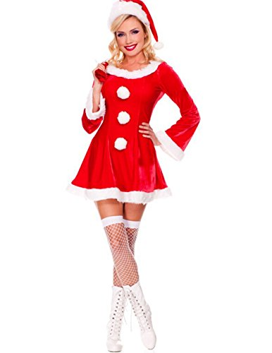 Sexy santa christmas costume velvet long sleeve dress