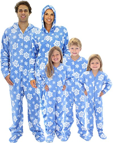 Matching Blue Snowflake One Piece Footed Onesie Pajamas for the ...