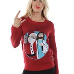 "Santa and Jesus ""Jingle Bros"" Christmas Sweater for Women"