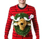 3D Reindeer Head Ugly Christmas Sweater