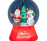 Inflatable Airblown Snow Globe with Santa and Snowman Outdoor Christmas Decoration with Incandescent White Lights