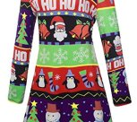 Christmas Santa Claus Print Pullover Flared A Line Dress