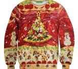 Christmas Pizza Tree Sweater Pullover Long Sleeve