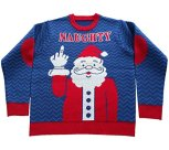 Naughty Santa Giving the Finger Ugly Christmas Sweater
