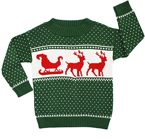 Children's Sleigh & Reindeer Christmas Sweater in Green | Ugly ...