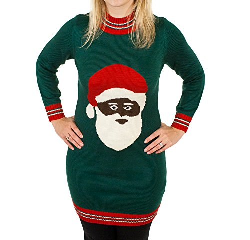 Black Santa Clause Christmas Sweater Dress | Ugly-Sweaters.com