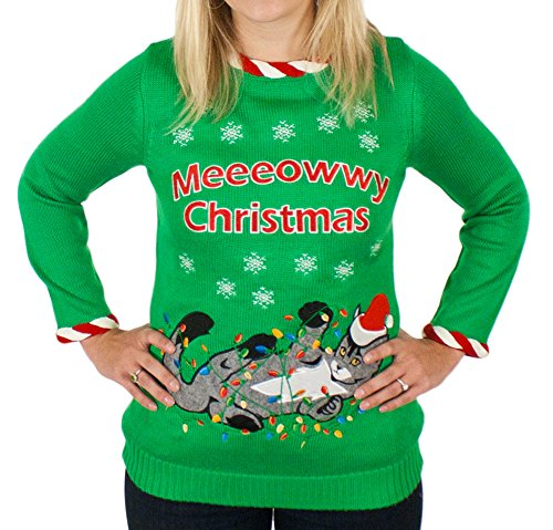 Tangled Cat Ugly Christmas Sweater with Lights for Women | Ugly ...