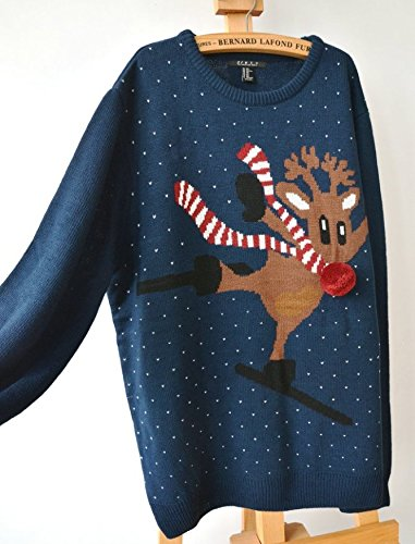 rudolph the reindeer skiing ugly christmas sweater plus size